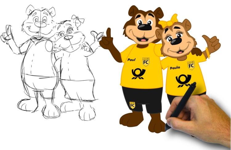 Maskottchen Entwurf Promo Bears