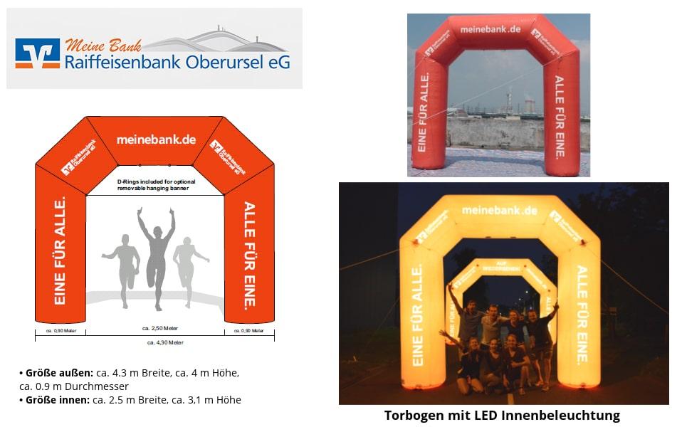 Aufblasbarer Torbogen Referenz Projekt Raiffeisenbank Oberursel